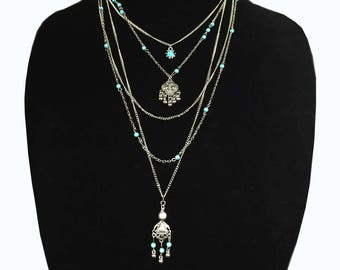 Boho Mutli Strand Layered silver and Turquoise necklace - 5 strands