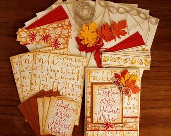 Hand Stamped Pumpkin Kisses 4.25 x 5.5 Any occasion Fall Card Kit-  4 cards with envelopes.