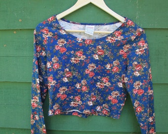 Beat Goes On - 1980s Bongo Floral Crop Top Rad Small