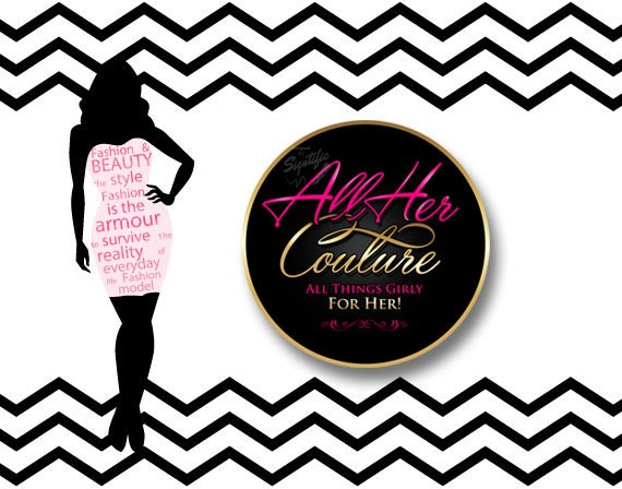 Fashion, Couture Logo Design, Round Text Logo in Pink and Gold Colors, OOAK sign Logo, Clothing Line Logo, Sassy Logo, Girly Girl Logo