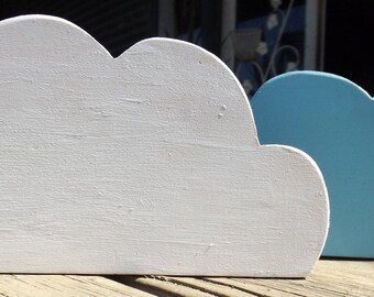Hand Made Wooden Clouds Pair - White & Blue