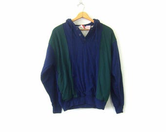 vintage Hoodie sweatshirt 1980s Hooded Sweater Top ATHLETICS Green and Blue Insulated Sweatshirt Jumper Drawstring Hood Shirt COED Medium