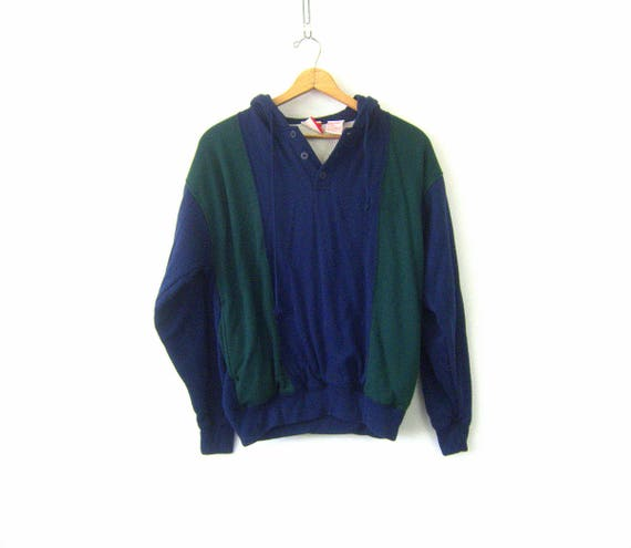 vintage Hoodie sweatshirt 1980s Hooded Sweater Top ATHLETICS Green and Blue Insulated Sweatshirt Jumper Drawstring Hood Shirt COED Medium