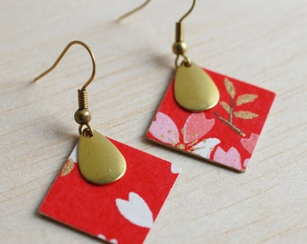 Japanese round earrings with red cherry blossoms
