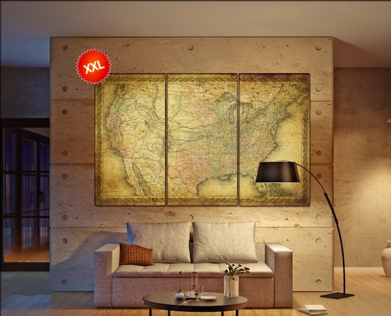 LARGE 3 or 5 panels / boards wrapped stretched old vintage retro Antique ancient united states usa map ,Giclee Art fine art