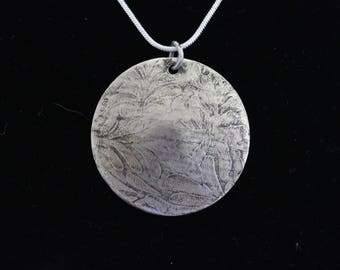 Etched German Silver Pendant (05212017-013)