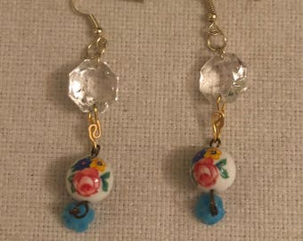Upcycled chandelier parts and slavaged beads earrings