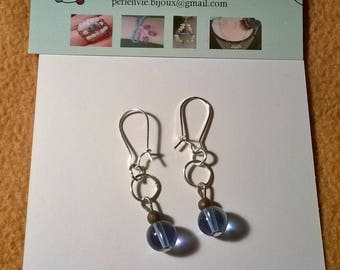 Earrings with blue glass beads