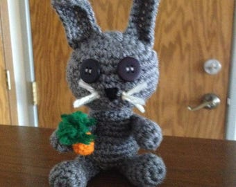 Crochet Grey Bunny with Carrot