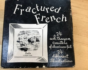 Aluminum Ash Trays - Vintage Coasters - Fractured French - Illustrated Comics
