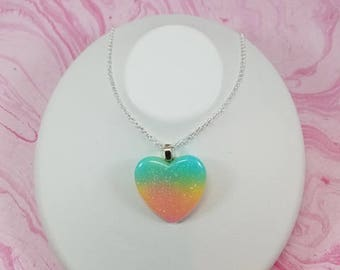 Rainbow Heart Necklace, Rainbow Glitter Heart, Heart Cabochon, Pastel Rainbow Heart