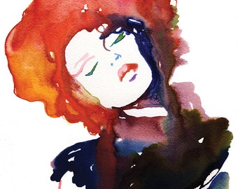 Cate Parr Illustration, Red Hair Fashion Print, Fashion Illustration Print, Watercolor Fashion, Cate Parr, Fashion Wall Art, Fashion Poster,