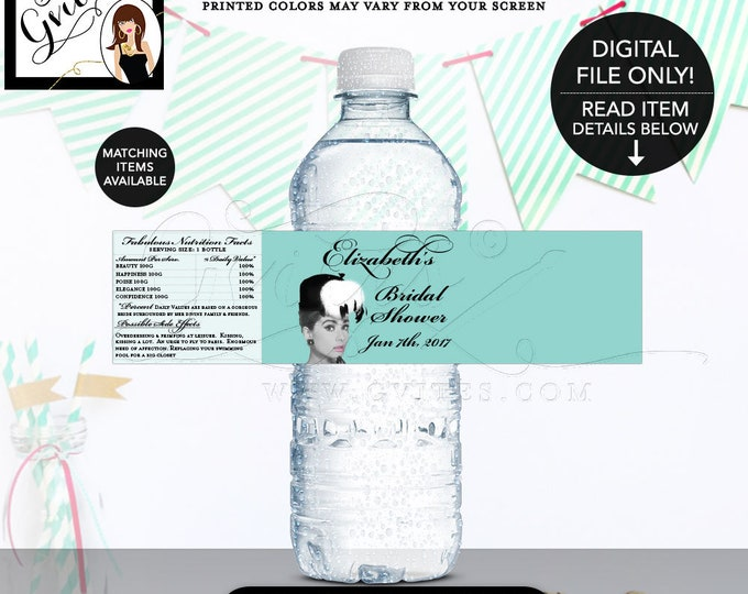 """Bride and Co water labels, breakfast at blue themed Audrey Hepburn label bottle wrapper, favors gifts. {8x2"""" 5 Per/Sheet} Gvites"""