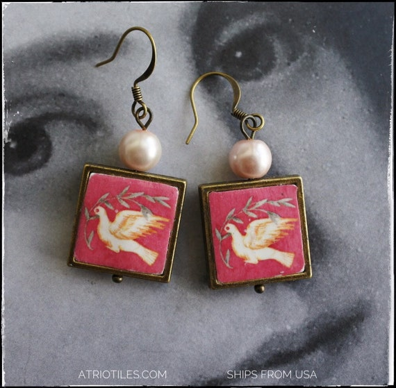 Earrings Doves Portugal Antique Chapel Frescoes  - National Palace of Sintra - waterproof reversible -  Holy Spirit - Ships from USA 559
