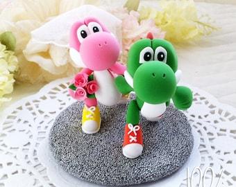 Custom Wedding Cake Topper - Running Yoshi Couple