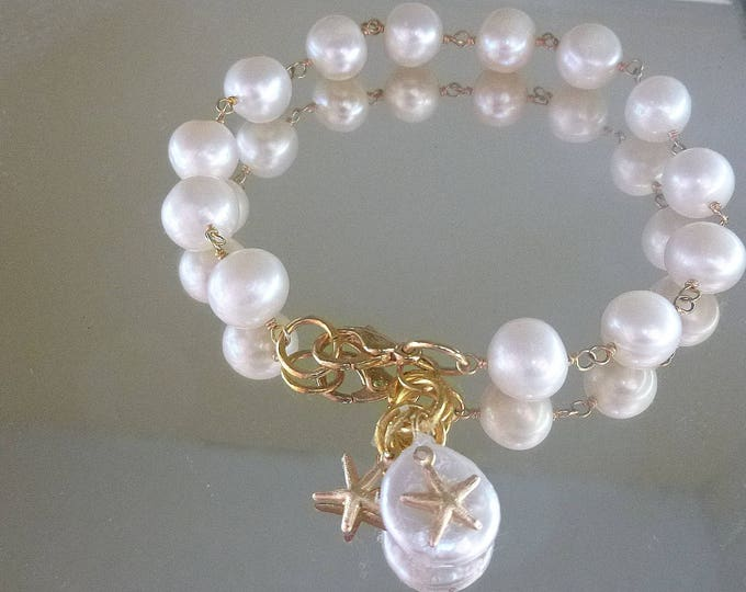 Featured listing image: Freshwater Pearl Bracelet, Heart Charm Bracelet, Wire Wrapped Jewelry, Star Charm Bracelet, White Pearl Bracelet, Gold Filled Jewelry
