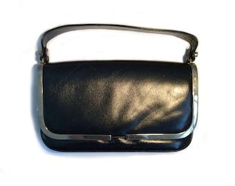 90's Smooth Black Leather Sliver Lining Baguette Bag