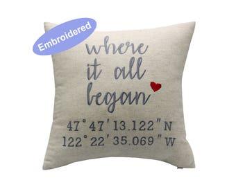 Personalized Latitude Longitude Pillow Cover, Custom Address GPS Coordinates Pillow Boyfriend Christmas Gift,Bridal Shower Gift,Husband Gift