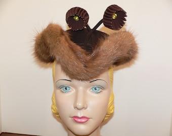 1940's Tilt Hat Brown FelT with Fur Trim