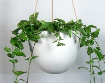 Large Hanging  Planter White Ceramic pottery  Hotess gift Wedding gift Ready to ship