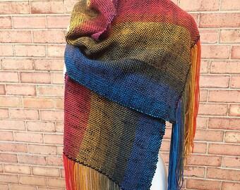 Handwoven Vegan Rainbow Wrap Shawl Free Shipping