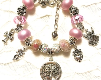 Homemade European Style Charm Bracelet Set - Pink- Family Tree (there iis a matching pendant necklace)