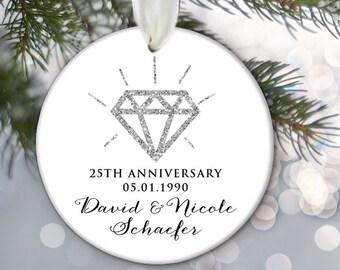 Anniversary Ornament Personalized Christmas Ornament Silver 25th Anniversary Ornament Gold 50th Anniversary Ornament Faux glitter OR461