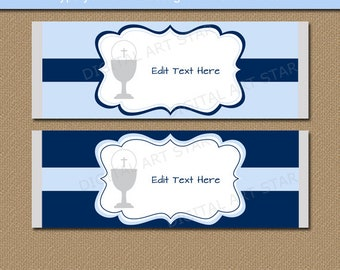 Candy Bar Wrapper Template, Chocolate Bar Wrappers, Boy First Communion Party Favors, 1st Communion Candy Favors Instant Download FC1