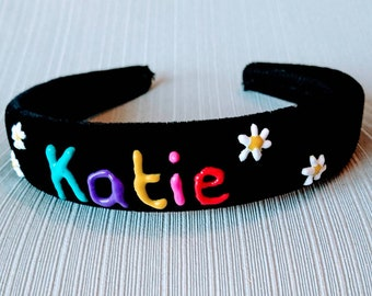 90's themed velvet head band with personalised name