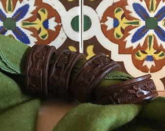 Vintage Carved Wooden Napkin Rings