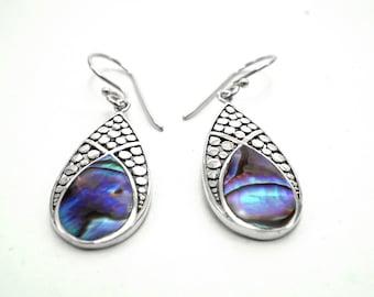 Abalone Sterling Silver Dangle Earrings Bali