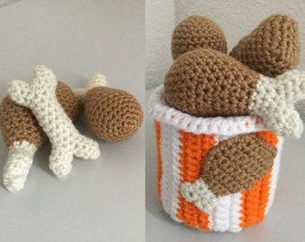 Chicken Bucket crochet pattern set of a chicken leg and bone pattern, play food pattern, chicken applique pattern pdf Instant Download