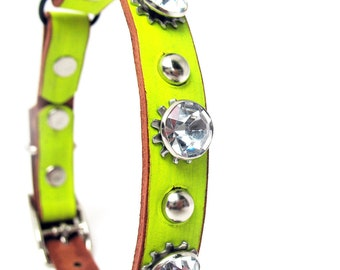 Bright Yellow Leather Cat Collar with Giant Crystals and Silver Studs, Size to fit a 8-10in Neck, Eco-Friendly, OOAK