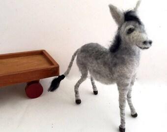 Needle felted Donkey posable felt grey kicking mule art doll Waldorf style Unique gift