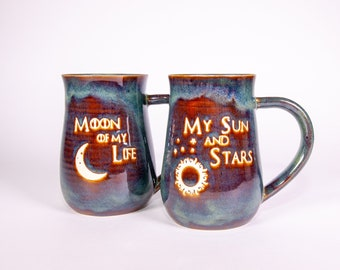 Game of Thrones My Sun and Stars and Moon of My Life Handmade Pottery Coffee Mug Set of 2