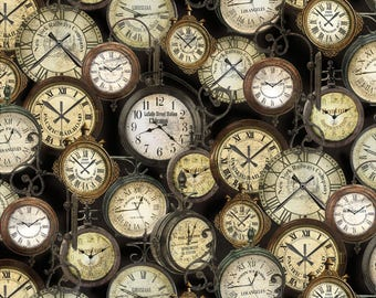 Vintage Steampunk Clocks Cotton fabric