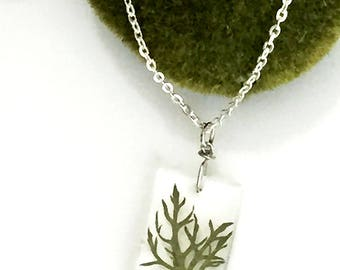 Real Green Fern Pendant Necklace - Botanical Jewelry - Silver - Gift Under 25 For Her - R005