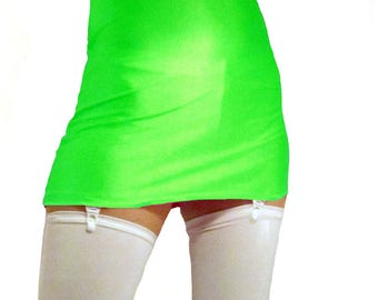 High waisted neon green shiny spandex mini skirt white suspenders