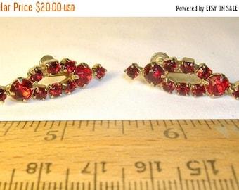 On Sale Vintage Earrings, Brilliant Red Rhinestones, Circa 1950's to 1960's