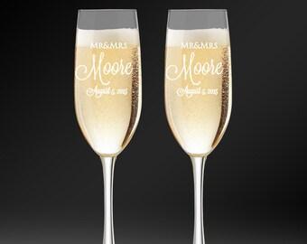 Custom Champagne Flutes - Engraved Wedding Glasses - Bride and Groom Toasting Glasses - Bridal Shower Gift - Wedding Keepsake - Wedding Gift