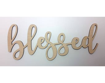 blessed wall sign large blessed wood sign blessed sign blessed wall decor rustic wooden sign extra large word sign blessed wall art gift for