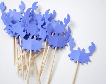 Bright Blue Crab Cupcake Toppers 12CT, Under the Sea, Nautical Theme Party, Ahoy it's a Boy - No466