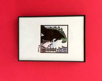 Art, Godzilla, Print, 4 x 6 inches, monster movies, film geek, horror, wall decor, gift idea, cult cinema, Japan, daikaiju, Ishirō Honda