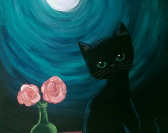 Black cat in the moonlight original painting