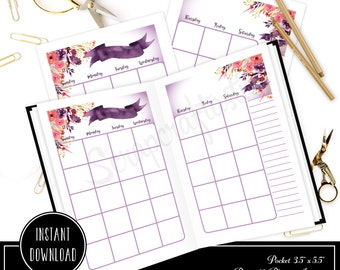 Royalty Undated Month on Two Page (MO2P) POCKET SIZE Designed Traveler's Notebook Printable Planner Inserts/Refill