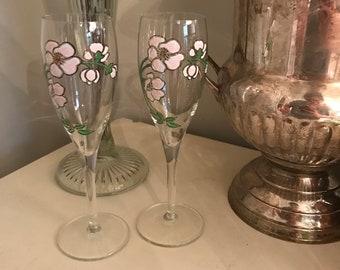 Perrier Jouet handpainted champagne flutes