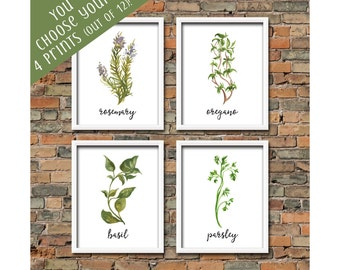 Set of 4 Watercolor Herb Printables Choose From 12 Botanical Herb Print Spices Herb Wall Art Herb Kitchen Decor Kitchen Herb Wall Art Set