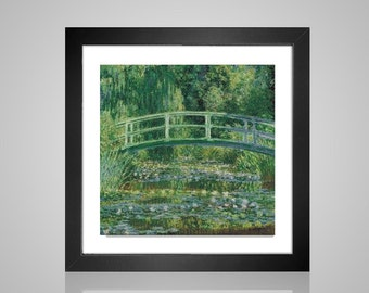 Cross Stitch pattern monet bridge over a pond of water lillies pdf counted crossstitch tutorial painting impressionist INSTANT DOWNLOAD