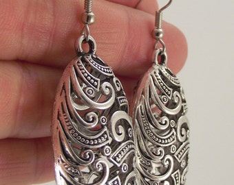 Oval Puffed Silver Filigree Earrings, Oval Pewter Earrings, Large Earrings, Statement Jewelry, Antiqued Silver Earrings, Gift under 30
