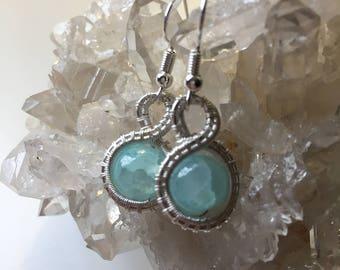 Blue Wire Woven Earrings
